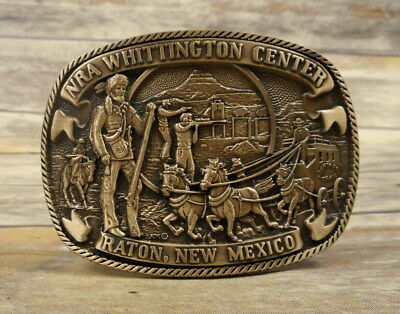 NRA Belt Buckle Raton New Mexico Solid Brass Whittington Center NM Rifle Gun VTG