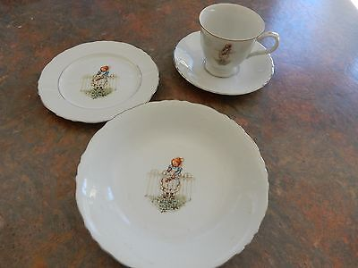 Vintage Holly Hobbie  Set Trio Cup Saucer Plate With Bowl