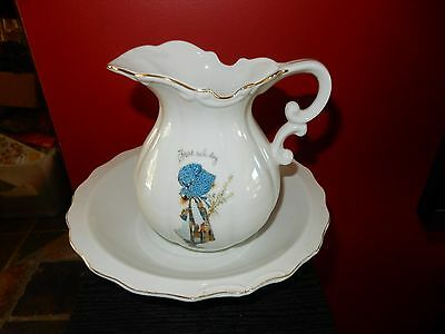 Vintage Holly Hobbie Blue Girl Start Each Day in A Happy Way  Big Jug and Bowl