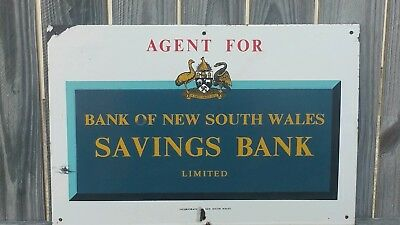 Vintage Bank Of New South Wales Savings Bank Agent Enamel Sign Very Nice