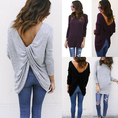Womens Back Cross Ladies Tops Casual Loose Pullover Oversized Sweater Jumper UK
