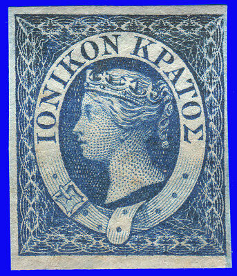 GREECE IONIAN STATE 1859 Engraved (1 d.) Blue MNH SIGNED UPON REQUEST