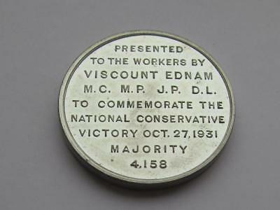 Borough of Wednesbury Viscount Ednam staff medallion after election win 27/10/31