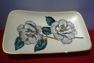 Eastgate pottery small dish. raised feet , floral pattern  initials J M P
