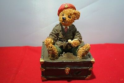 "teddy bear ornament  ""tristan""  Regency Fine Arts  sits on a chest with his pipe"