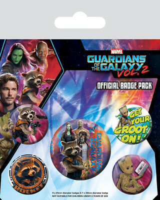 Button Badge 5er Pack GUARDIANS OF THE GALAXY VOL. 2 - Rocket & Groot BP80588
