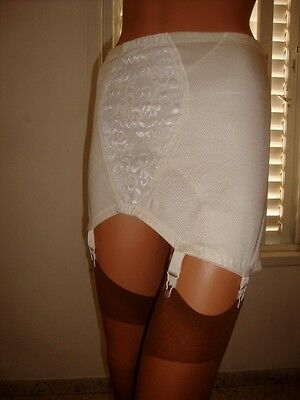 """Classic M&S White Silky Lacy Open Corset Girdle 6 Suspenders Garters 46-48"""" Hips"""