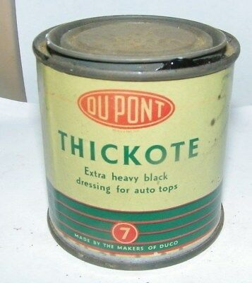 vintage paint tin can-Dupont Thickote black dressing for  auto tops Wilmington,D