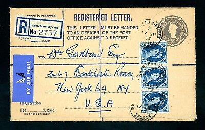 1955  Registered Cover  Shoreham to USA  (3 x 10d Values)  (O1391)