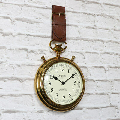 antique vintage style wall clock pocket watch strap wrist gold white brown home