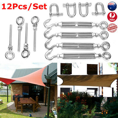12X 6MM Stainless Steel Shade Sail Accessory Kit Four Wall Fixing Mounting
