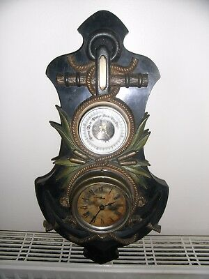 19th / Early 20th Century Wall Clock Barometer Ships Anchor with Ropes Bulkhead