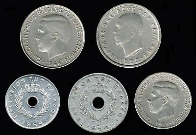 GREECE :- 5 different  - mid  20th century Kingdom coins. ADP6232