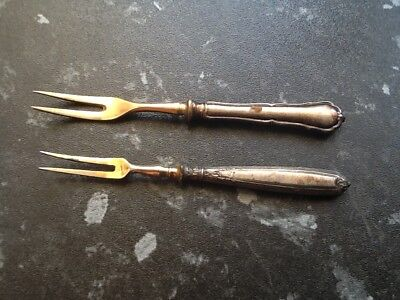 Pair Minature Silver(800)Handled Forks Nice Lot No Reserve