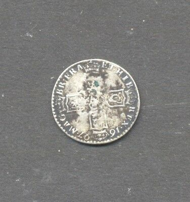 GREAT BRITAIN , WILLIAM III , pre 1920 , .925 SILVER , 1697 SIXPENCE