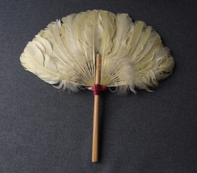 Vintage Chinese Bamboo Handle & Yellow Feathers Hand Fan