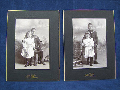 Mint Pair Of Antique Cabinet Photos Children From Maine