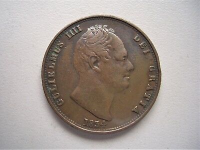 King William 1111,  1834 Halfpenny, Very fine condition  [134]