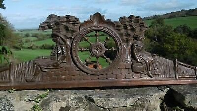 SUPERB 19thc BLACK FOREST PEDIMENT WITH FIGURES SEATED UNDER TREE