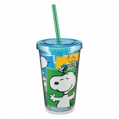 Peanuts Snoopy 12 oz Illustrated Acrylic Travel Cup Mug with Straw NEW UNUSED