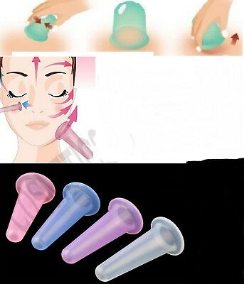 2 x Silicone Massage Vacuum Body and Facial Cup Anti Cellulite Cupping Ageing US