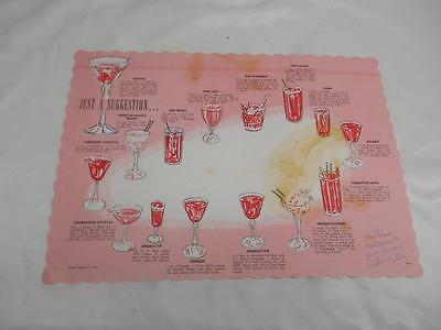 Old Vtg 1963 Mixed Drink Recipe Advertising Placemat JUST A SUGGESTION Bartender