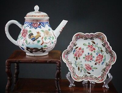 RARE! Antique Chinese Porcelain Famille Rose Chicken Teapot Cover Tray 18th C