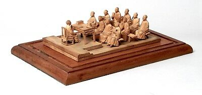 V.fine Quality Unusual Antique Chinese Boxwood Wood Carved Large Figure Group