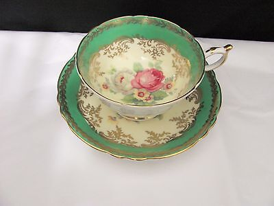 Paragon England Green Yellow & Gold Teacup & Saucer set white & Pink Roses