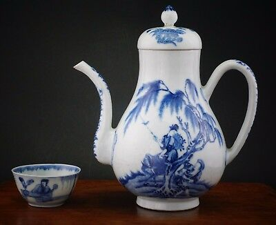 SUPERB! Large Antique Chinese Porcelain Blue and White Teapot  YONGZHENG 18th C