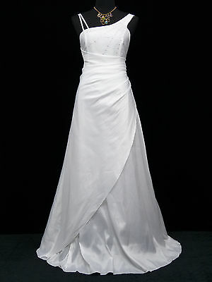 Cherlone White One Shoulder Ballgown Bridesmaid Wedding Formal Evening Dress 12
