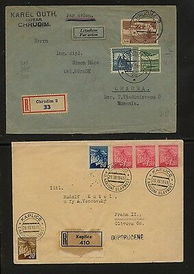 Czechoslovakia   2  registered  covers  , one to Romania              KL0718