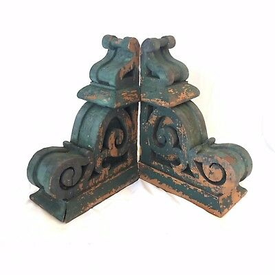1890's Antique Pair(2) Wood Corbels Brackets Victorian Gingerbread Green 511-17