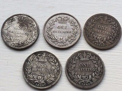 nice looking lot 5 victorian shilling coins 1884 1840 1856 1842 1844