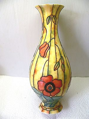 Tube Lined Cream & Red Poppy Vase - Pottery - Old Tupton Ware Label