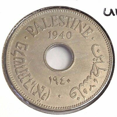 1940 Palestine 10 Mils, KM# 4, High Grade - AU+ or UNC