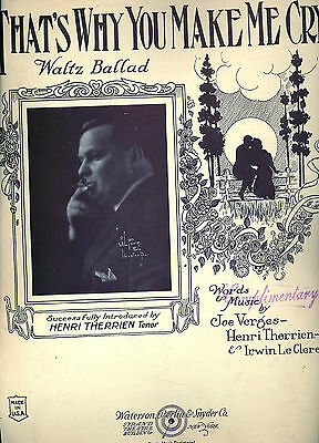 Vintage  Sheet Music 1923   That's Why you make Me Cry