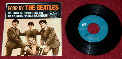 """Four By The Beatles - 1964 Capitol Records 7"""" Ep Eap 1-2121 Nice"""
