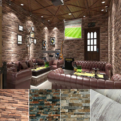 10M Rolls 3D Real Look Realistic Natural Rusty Grey Brick/Stone Home Wallpaper