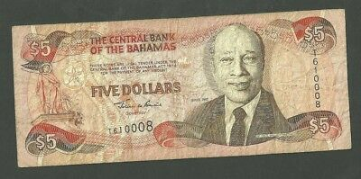 1997 Central Bank Of The Bahamas 5 Dollar Currency Note 63A Paper Money Five