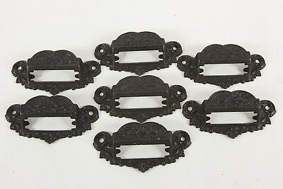 7 Ornate Cast Iron Drawer Pulls Handles Apothecary Library Label Slots Salvaged