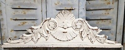 SHABBY HAND CARVED WOOD PEDIMENT ANTIQUE FRENCH ARCHITECTURAL CROWN SALVAGE 19th