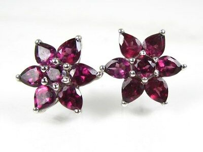 Estate Sterling Silver 4ctw Rhodolite Garnet Ladies Earrings 4.9g