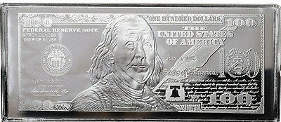 CHRISTMAS GIFT! 2017 FRANKLIN $100 4 oz .999 CURRENCY SILVER BAR + COA ~ FLAWS