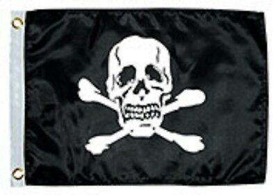 """Jolly Roger Flag Nylon with Brass Grommets 12"""" x 18"""" Taylor 1818"""