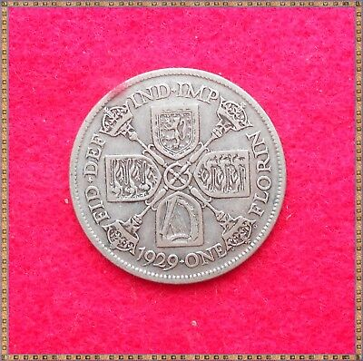 1929 George V Silver Florin/ Two Shillings (2/-) Coin.