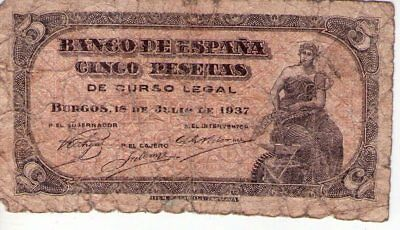 ★★Billete Original 5 Pesetas De 1937 Burgos★★