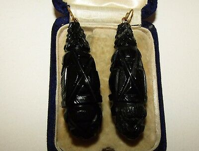 Large, Victorian, 9 Ct Gold Mourning Earrings With Carved Whitby Jet