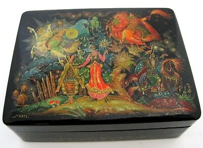 Vintage USSR Wood Lacquer Russian HandPainted Box Folk Art Horses Signed Receipt