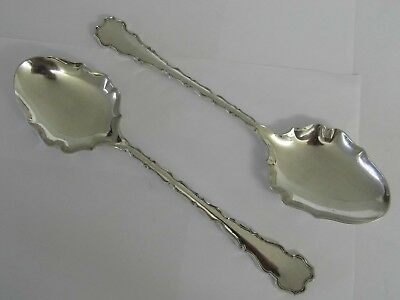 STUNNING PAIR OF ANTIQUE ORNATE SOLID STERLING SILVER SERVING FRUIT SPOONS 181g